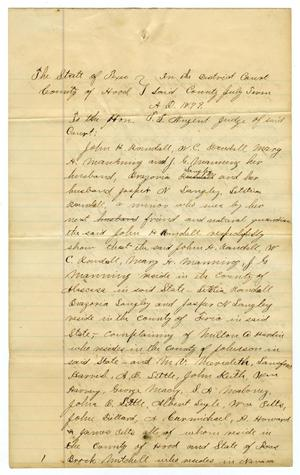 Primary view of object titled '[Petition to Judge T.L. Nugent from Attorneys Cooker and Estes, October 1 1879]'.