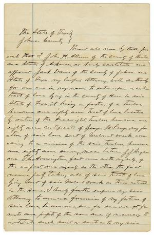 Primary view of object titled '[Letter from John H. Allison to Jack Davis, May 2 1878]'.