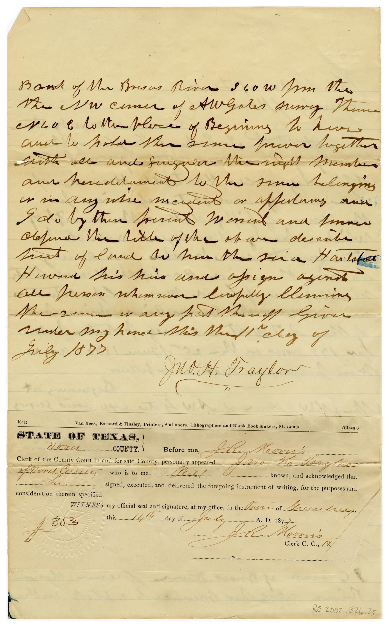[Documentation of sale of land from John H. Traylor to Hartsford Howard, July 14 1877]                                                                                                      [Sequence #]: 2 of 2