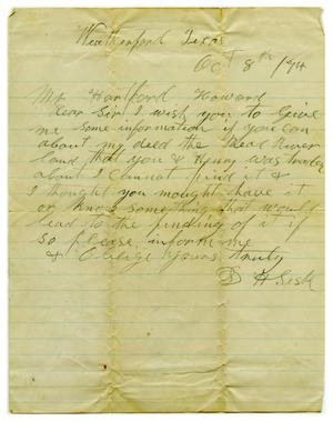 Primary view of object titled '[Letter to Hartsford Howard from D.H. Sesk, October 8 1874]'.