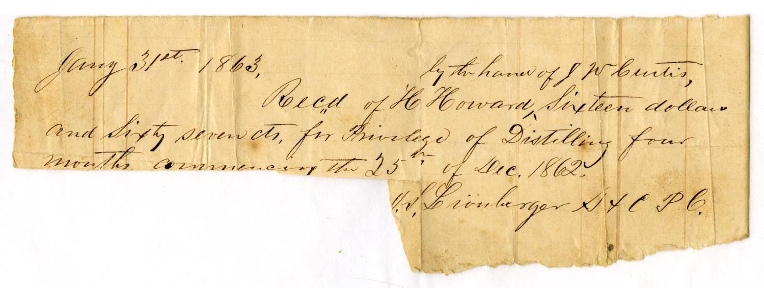 [Receipt for Hartsford Howard, January 31 1863]                                                                                                      [Sequence #]: 1 of 1