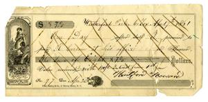 Primary view of object titled '[Promissory note from Hartsford Howard to R. Carson, April 19 1861]'.