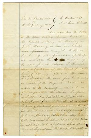 Primary view of object titled '[Lawsuit: Randle vs. Lazenberry filed in Hood County, October 26 1872]'.