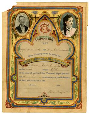 Primary view of object titled '[Certificate of the Marriage of J.A. Foster and M.A. Thomason]'.