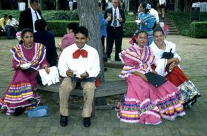 Primary view of object titled '[Unidentified people in traditional Mexican dress at City Hall]'.