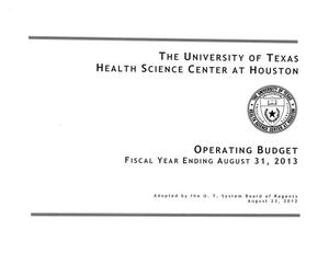 Primary view of object titled 'University of Texas Health Science Center at Houston Operating Budget: 2013'.