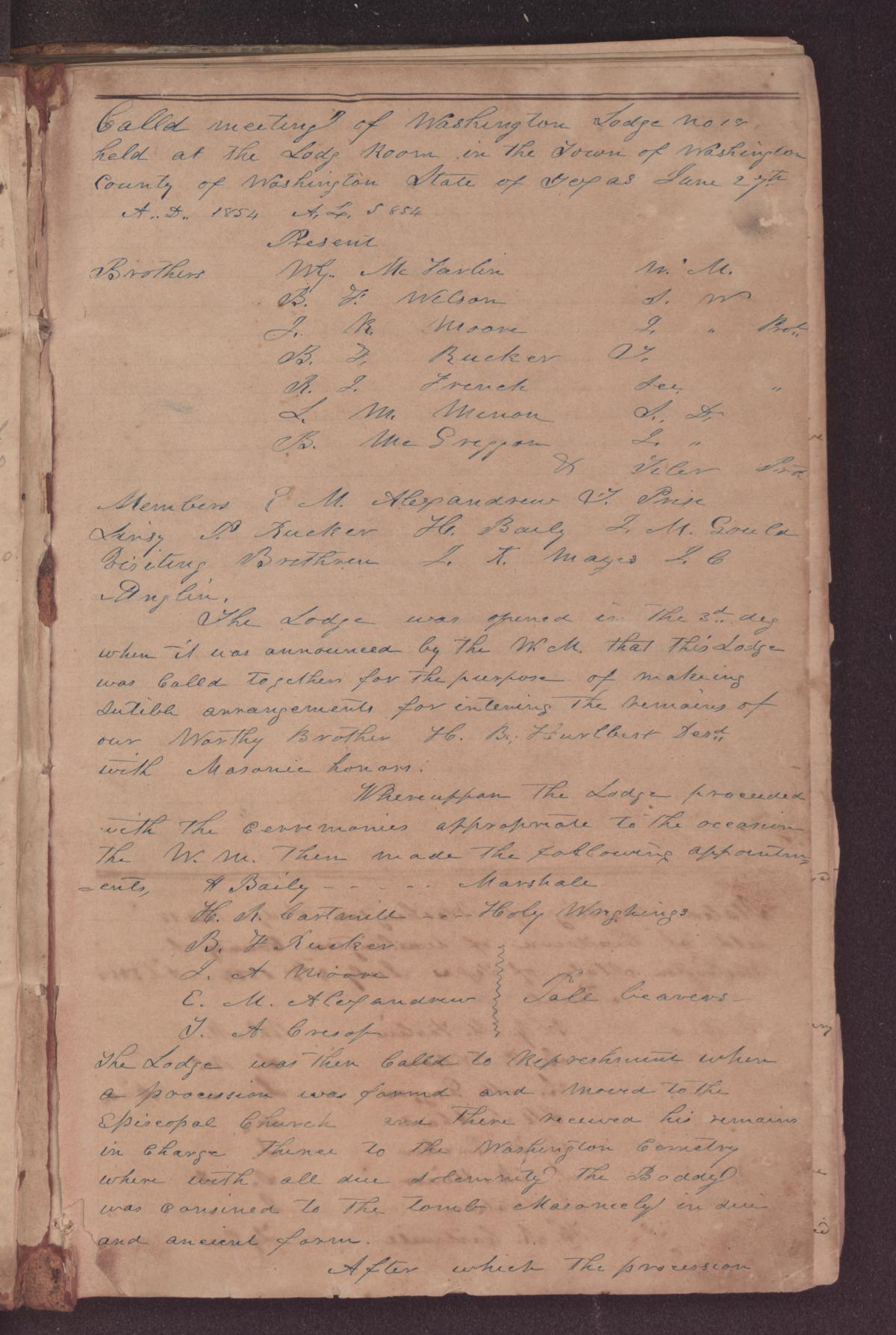 [Washington Lodge No. 18 Record Book]                                                                                                      [Sequence #]: 3 of 308