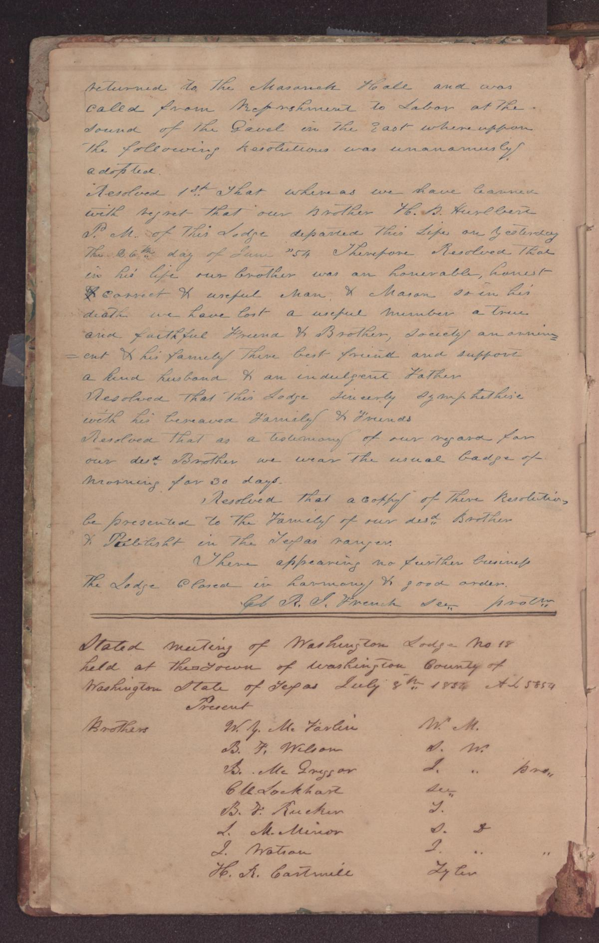 [Washington Lodge No. 18 Record Book]                                                                                                      [Sequence #]: 4 of 308