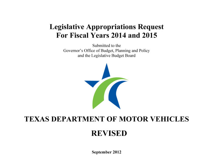 Primary view of object titled 'Texas Department of Motor Vehicles Requests for Legislative Appropriations: