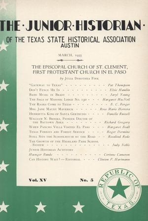 Primary view of object titled 'The Junior Historian, Volume 15, Number 5, March 1955'.