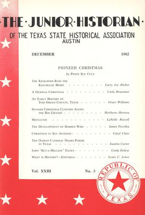 Primary view of object titled 'The Junior Historian, Volume 23, Number 3, December 1962'.