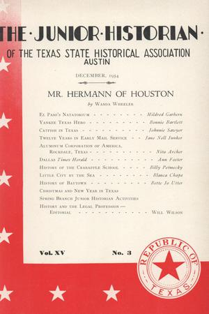 Primary view of object titled 'The Junior Historian, Volume 15, Number 3, December 1954'.
