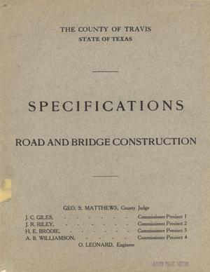Primary view of object titled 'Specifications: road and bridge construction'.