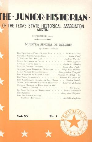 Primary view of object titled 'The Junior Historian, Volume 15, Number 1, September 1954'.