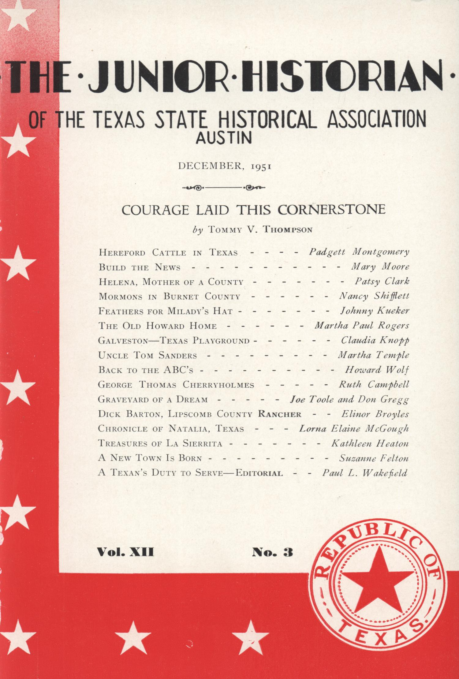 The Junior Historian, Volume 12, Number 3, December 1951                                                                                                      Front Cover