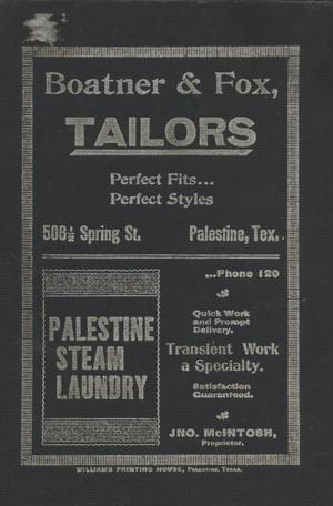 Primary view of object titled 'Palestine City Directory, 1898-1899'.