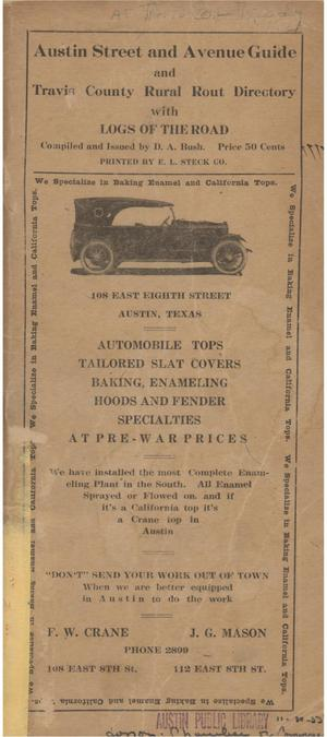Primary view of object titled 'Austin street and avenue guide and Travis County rural route directory with logs of the road'.