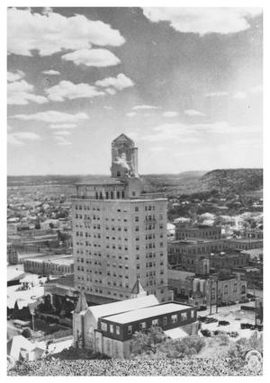 Primary view of object titled '[The Baker Hotel and the First Methodist Church]'.