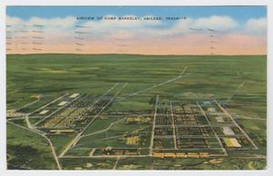 Primary view of object titled '[Postcard of Aerial View of Camp Barkeley]'.