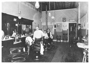 Primary view of object titled '[The Interior of a Barbershop]'.