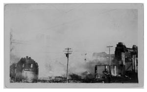 Primary view of object titled '[The Burning of the First Crazy Hotel]'.