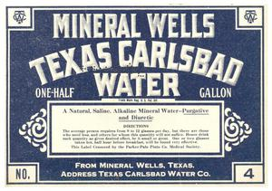 Primary view of object titled 'MINERAL WELLS TEXAS CARLSBAD WATER'.