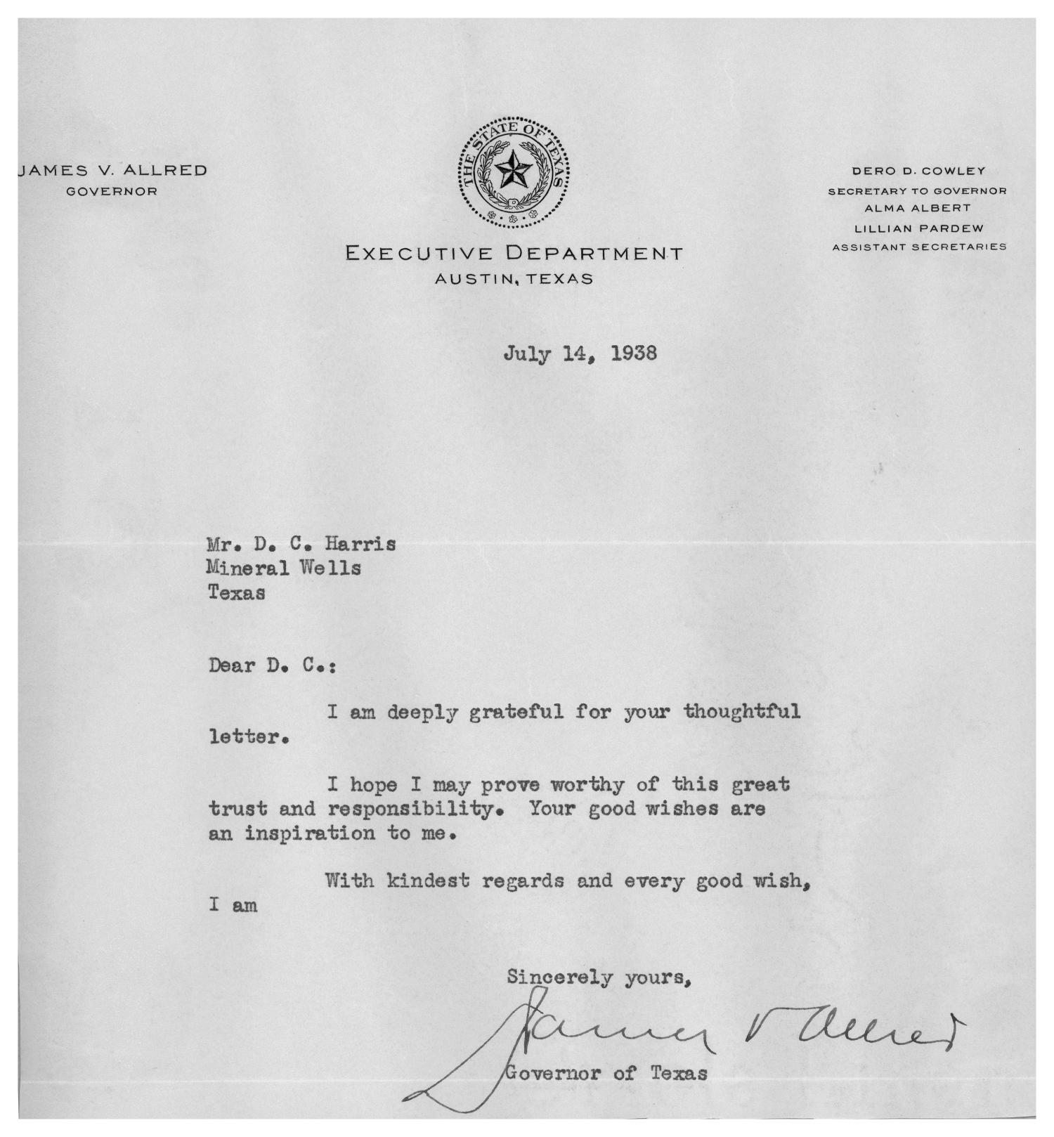 [A Letter from Texas Governor to D.C. Harris]                                                                                                      [Sequence #]: 1 of 1