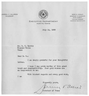 [A Letter from Texas Governor to D.C. Harris]