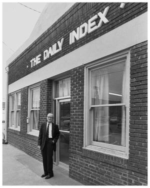 "Primary view of object titled '[Bill Cameron in Front of Old ""Index"" Building]'."