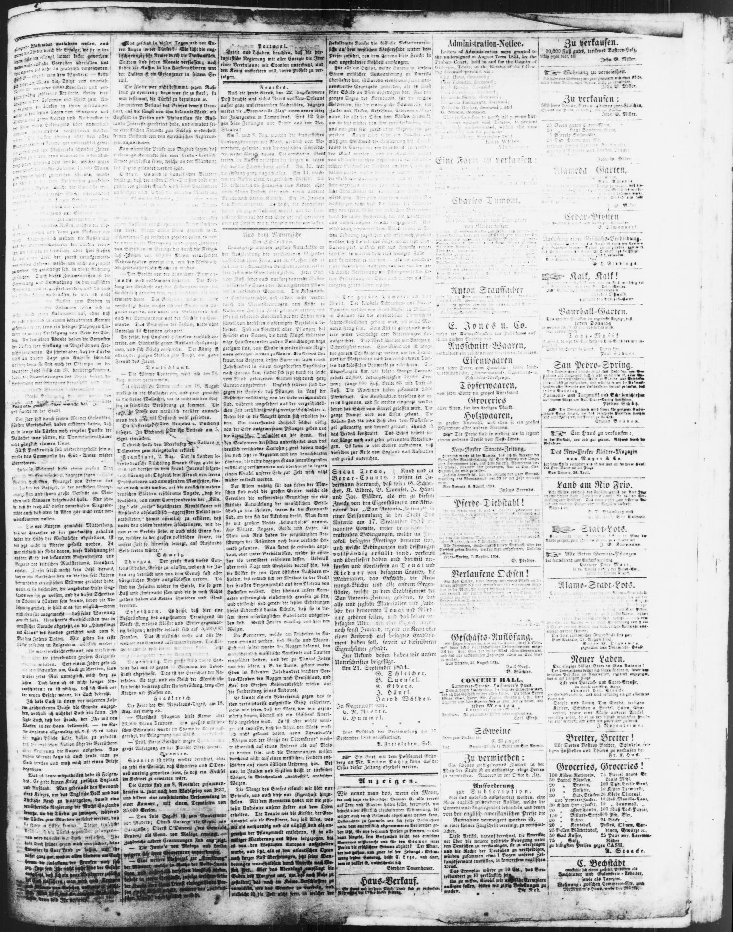 San Antonio-Zeitung. (San Antonio, Tex.), Vol. 2, No. 13, Ed. 1 Saturday, September 23, 1854                                                                                                      [Sequence #]: 3 of 4