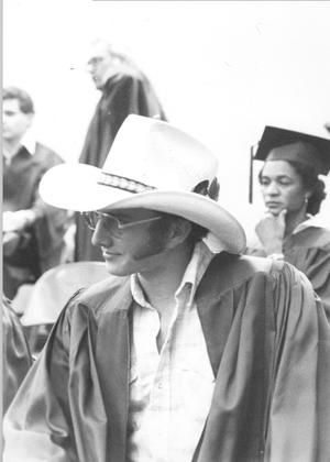 Primary view of object titled '[Graduate with cowboy hat]'.