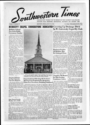 Primary view of object titled 'Southwestern Times (Houston, Tex.), Vol. 1, No. 43, Ed. 1 Thursday, July 19, 1945'.