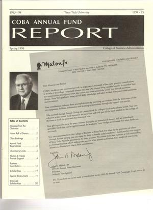 COBA Annual Fund Report, Spring 1996