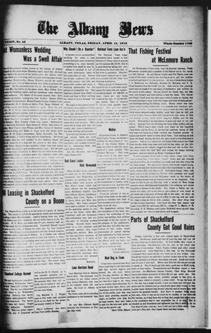 Primary view of object titled 'The Albany News (Albany, Tex.), Vol. 34, No. 45, Ed. 1 Friday, April 12, 1918'.