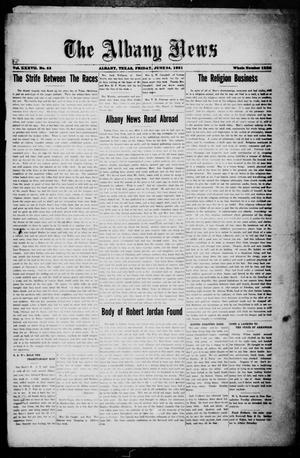 Primary view of object titled 'The Albany News (Albany, Tex.), Vol. 37, No. 53, Ed. 1 Friday, June 24, 1921'.