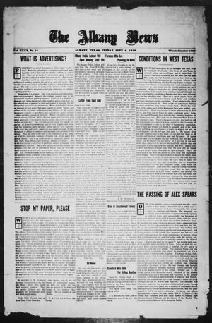 Primary view of object titled 'The Albany News (Albany, Tex.), Vol. 35, No. 14, Ed. 1 Friday, September 6, 1918'.