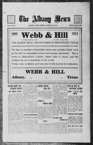 Primary view of object titled 'The Albany News (Albany, Tex.), Vol. 29, No. 11, Ed. 1 Friday, August 23, 1912'.