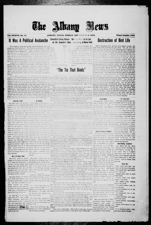 Primary view of object titled 'The Albany News (Albany, Tex.), Vol. 37, No. 12, Ed. 1 Friday, September 3, 1920'.