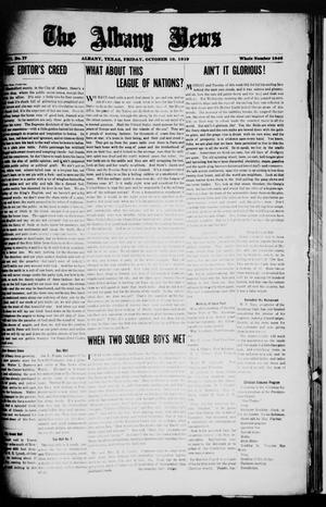 Primary view of object titled 'The Albany News (Albany, Tex.), Vol. 36, No. 17, Ed. 1 Friday, October 10, 1919'.