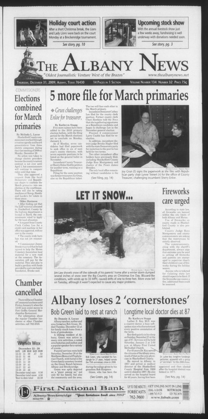 The Albany News (Albany, Tex.), Vol. 134, No. 32, Ed. 1 Thursday ...