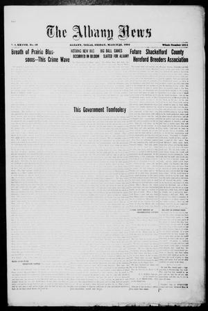 Primary view of object titled 'The Albany News (Albany, Tex.), Vol. 37, No. 40, Ed. 1 Friday, March 25, 1921'.