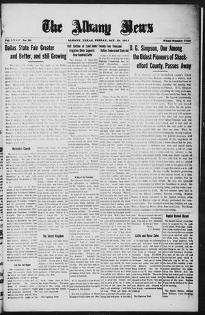 Primary view of object titled 'The Albany News (Albany, Tex.), Vol. 34, No. 20, Ed. 1 Friday, October 19, 1917'.