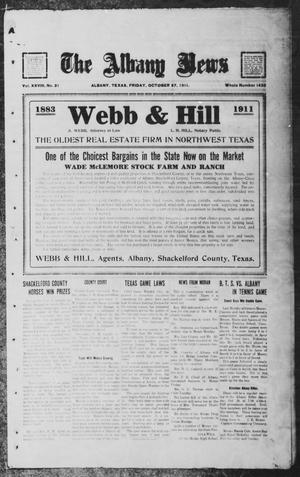 Primary view of object titled 'The Albany News (Albany, Tex.), Vol. 28, No. 21, Ed. 1 Friday, October 27, 1911'.