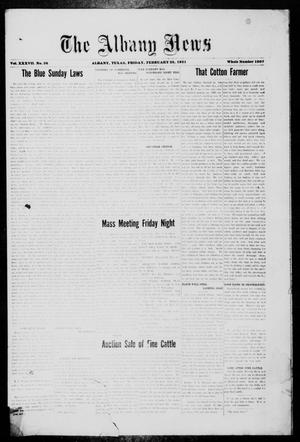 Primary view of object titled 'The Albany News (Albany, Tex.), Vol. 37, No. 36, Ed. 1 Friday, February 25, 1921'.