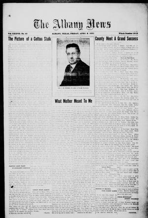 Primary view of object titled 'The Albany News (Albany, Tex.), Vol. 37, No. 42, Ed. 1 Friday, April 8, 1921'.
