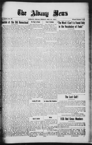 Primary view of object titled 'The Albany News (Albany, Tex.), Vol. 34, No. 29, Ed. 1 Friday, December 21, 1917'.