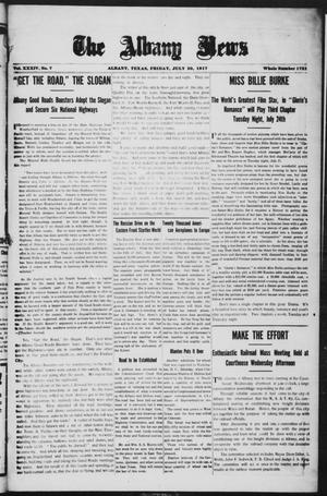 Primary view of object titled 'The Albany News (Albany, Tex.), Vol. 34, No. 7, Ed. 1 Friday, July 20, 1917'.