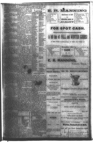Primary view of object titled 'The Albany Echo. (Albany, Tex.), Vol. [1], No. [20], Ed. 1 Saturday, October 6, 1883'.