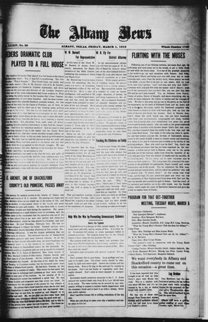 Primary view of object titled 'The Albany News (Albany, Tex.), Vol. 34, No. 39, Ed. 1 Friday, March 1, 1918'.