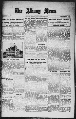 Primary view of object titled 'The Albany News (Albany, Tex.), Vol. 33, No. 37, Ed. 1 Friday, February 16, 1917'.